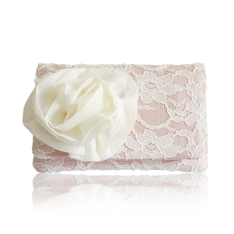 Blush ivory lace wedding clutch