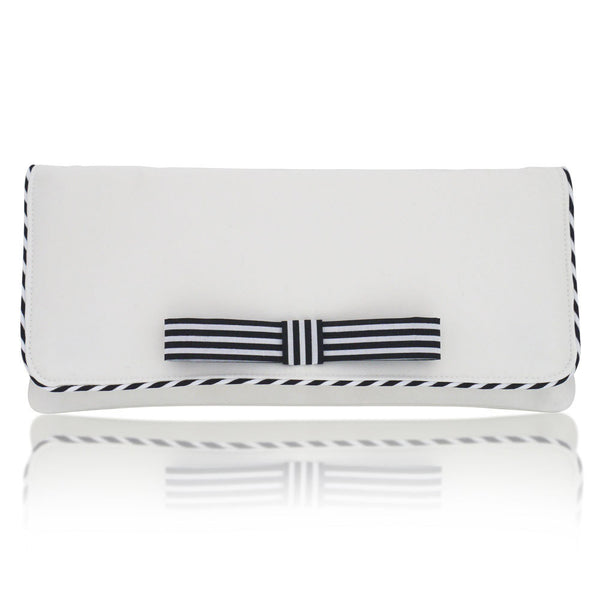 ivory wedding clutch with navy stripes
