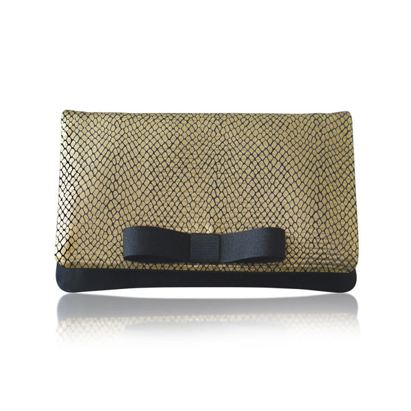 Gold snakeskin clutch purse