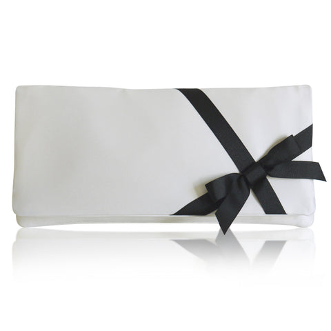 ivory and black wedding clutch