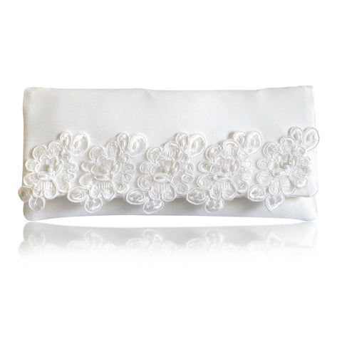 ivory wedding clutch with lace trim