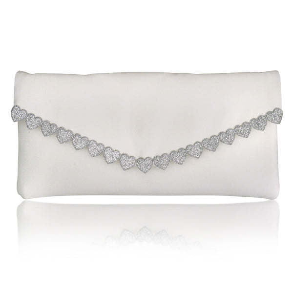 Ivory silver heart bridal wedding clutch