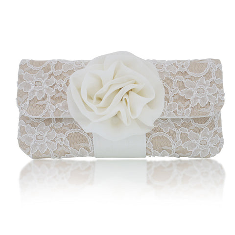 champagne lace wedding clutch