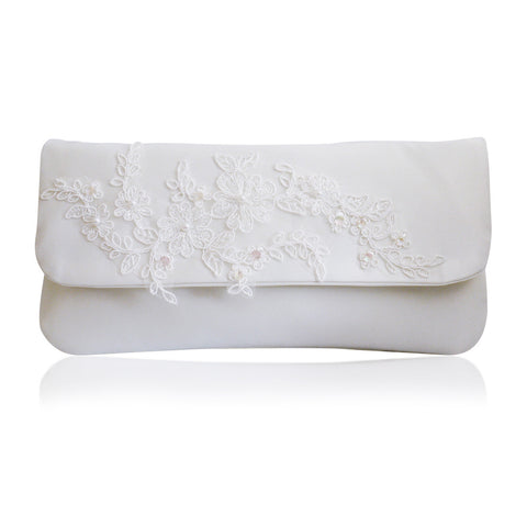 ivory lace embellished wedding clutch