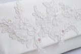 Ivory lace and sequin applique bridal wedding clutch FELICITY