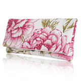 Pink ivory floral bridal clutch bag