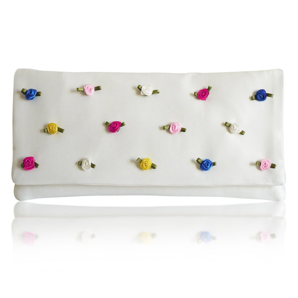 Colourful bridal wedding clutch handbag