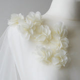 Ivory chiffon flower tulle bridal cape - Emsworth