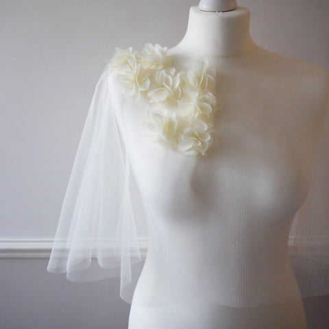 Ivory tulle bridal cape floral