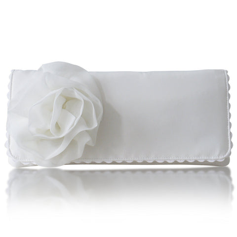 ivory satin wedding clutch
