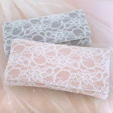 Blush pink grey lace wedding clutch