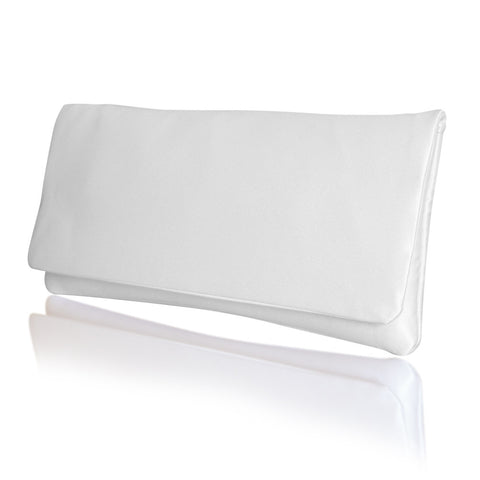 plain ivory satin bridal clutch