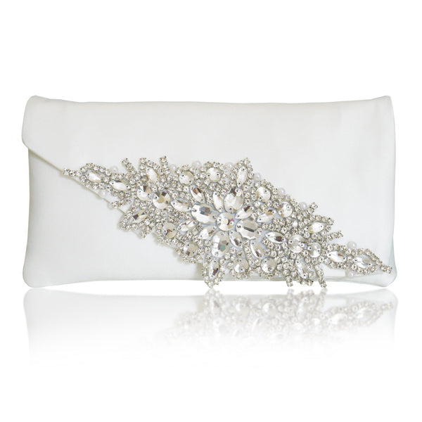 Ivory diamante bridal wedding clutch handbag