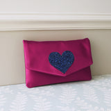 Heart glitter clutch - choose your colours