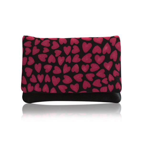 Valentines heart print clutch purse