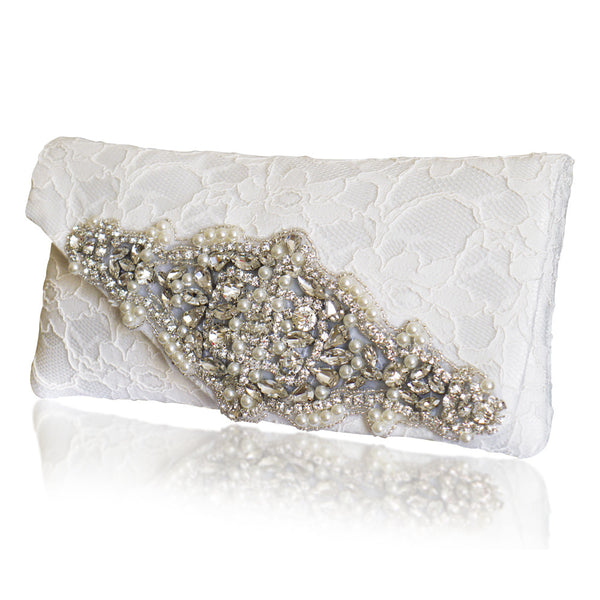 diamante lace bridal wedding clutch