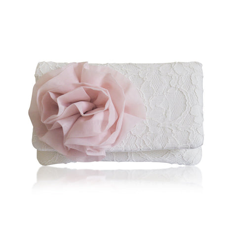 Ivory lace blush wedding bridal clutch