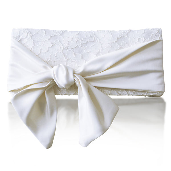ivory lace bow wedding clutch