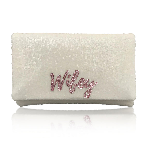 Ivory sequin WIFEY bridal wedding day clutch
