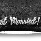 Black sequin 'Just Married' clutch handbag