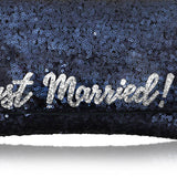 Navy sequin 'Just Married' clutch handbag