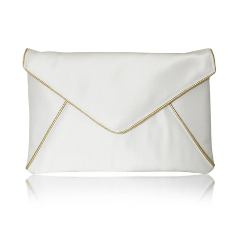 Ivory and gold bridal clutch