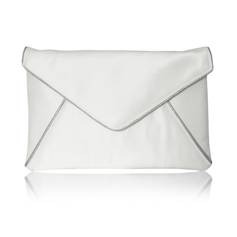 Ivory and silver bridal clutch