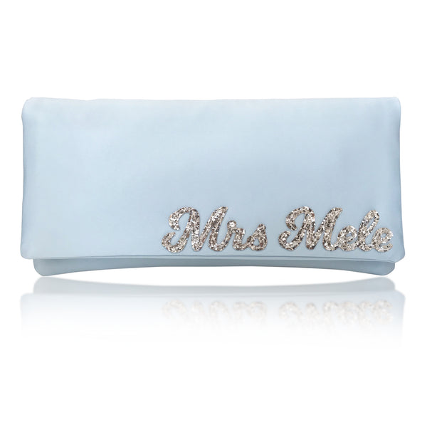 Light blue satin MRS surname wedding day bridal clutch handbag