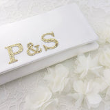 Bride and groom monogram bridal wedding clutch handbag