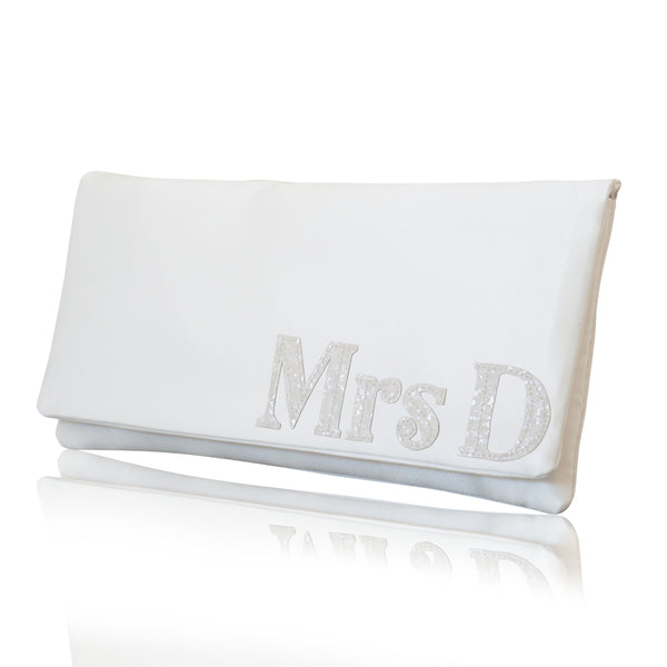 mrs bridal wedding accessories personalised clutch