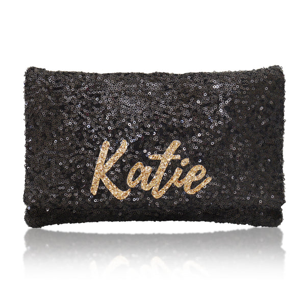 Black sequin personalised clutch