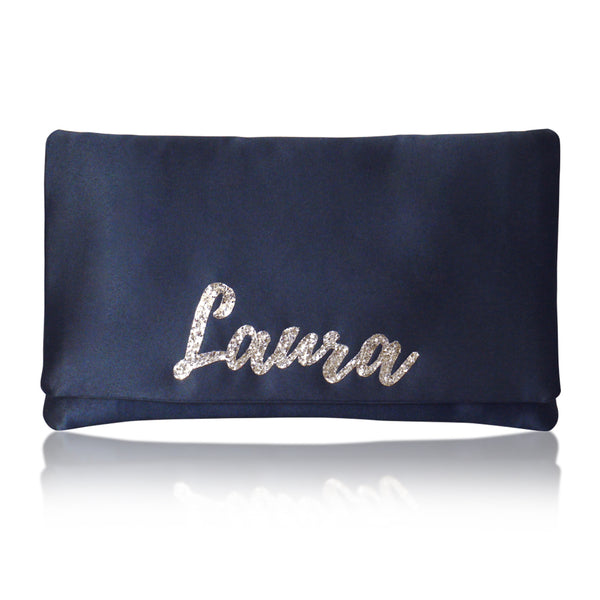 Navy satin personalised name clutch