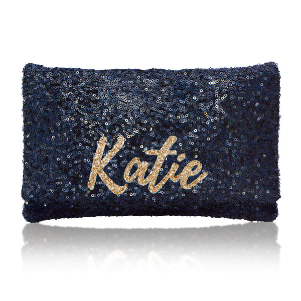 navy sequin personalised name clutch