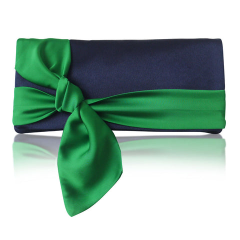 navy and emerald satin clutch handbag