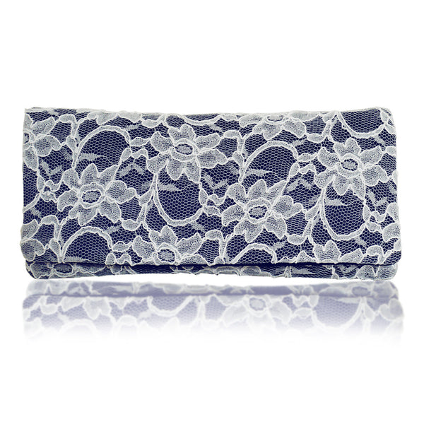 navy and ivory lace clutch handbag