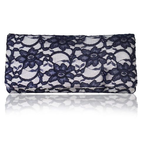 Ivory and navy lace clutch evening bag