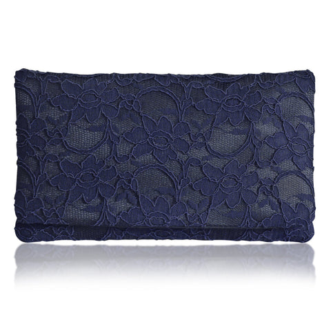 Large navy lace clutch handbag