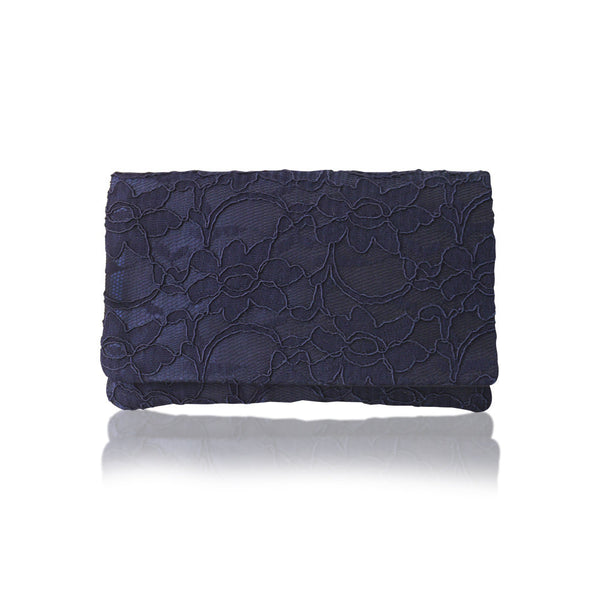 navy lace small clutch purse