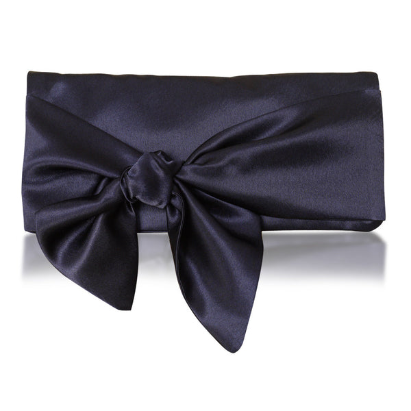 navy satin evening bag clutch
