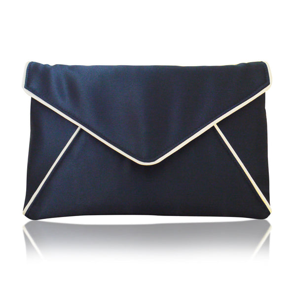 Navy satin envelope clutch handbag