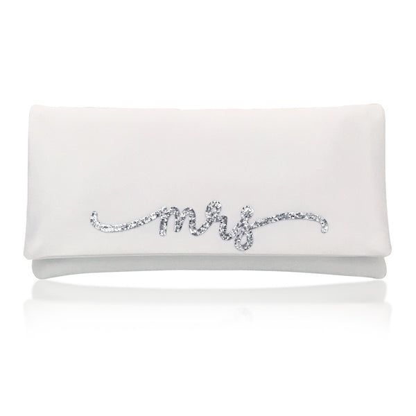 Ivory satin MRS wedding day bridal clutch handbag flourish font