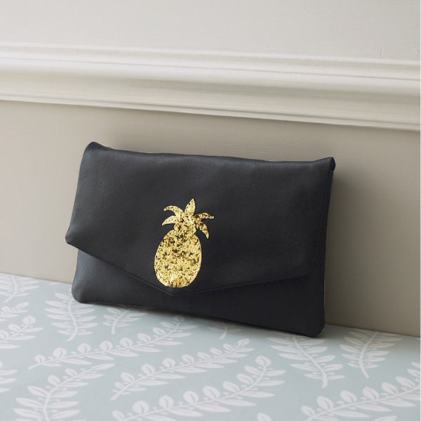 pineapple satin clutch