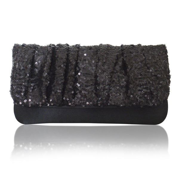 Black sequin clutch handbag