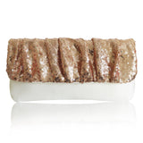 Ivory blush sequin wedding clutch