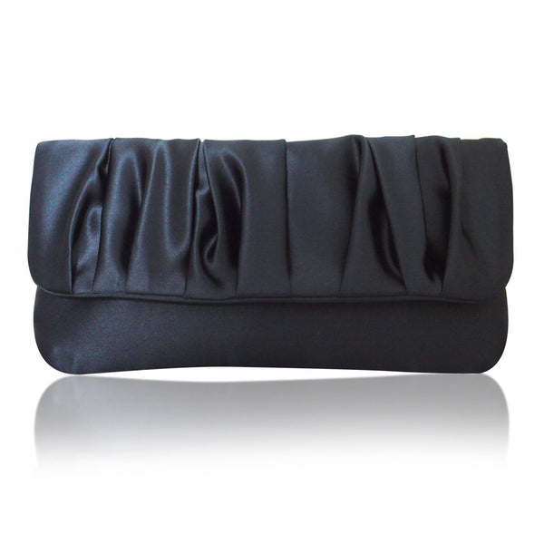 navy satin handbag clutch