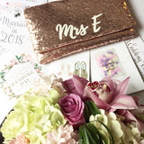 Blush rose gold sequin MRS initial bridal wedding day clutch
