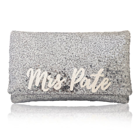 Silver sequin MRS surname bridal wedding day clutch