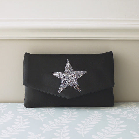 glitter star print clutch purse