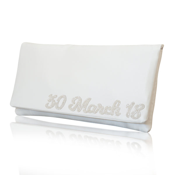 Personalised wedding day bridal clutch