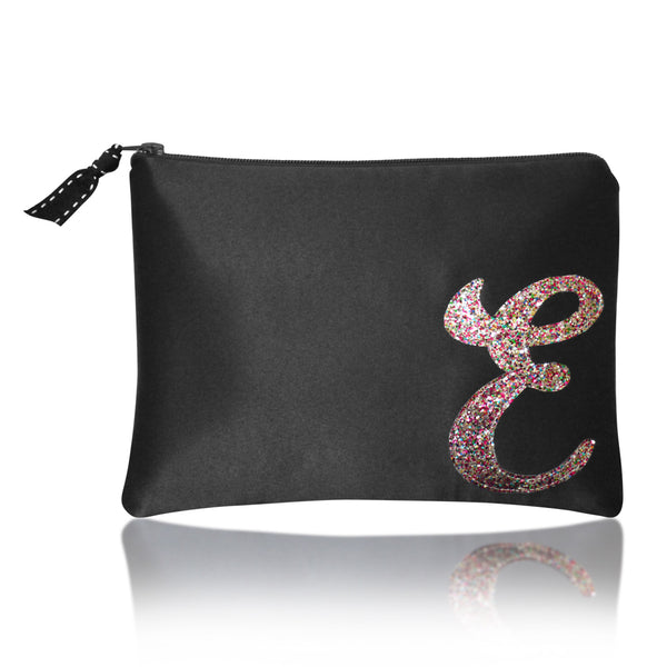 Black satin zip top personalised initial clutch